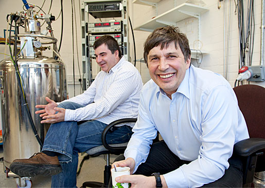 Konstantin Novoselov (left) and Andre Geim (right) at their lab at the University of Mancheser. Both men were awarded the 2010 Nobel Prize in Physics.