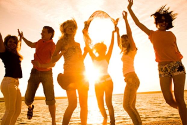 Student summer beach holiday